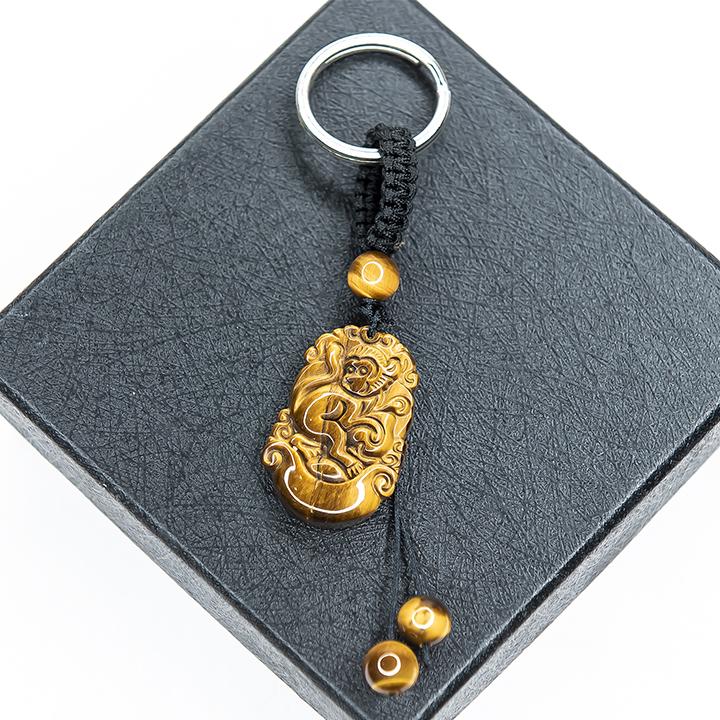 Móc khóa 12 Con Giáp đá Mắt hổ Vàng tự nhiên - Tuổi Thân | MKTIGYTHAN09 VietGemstones