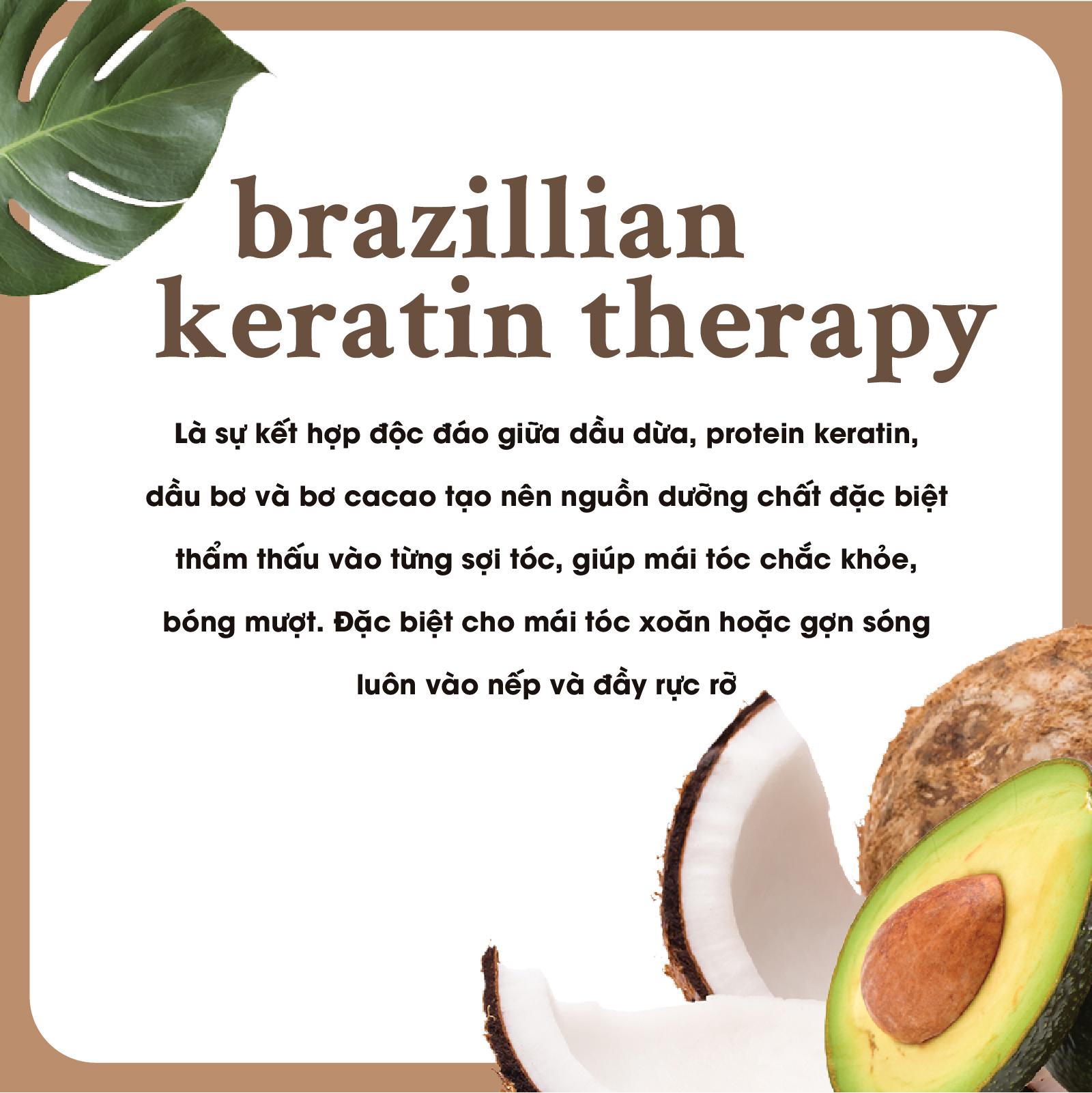 Bộ 2 Dầu gội và dầu xả OGX Ever straightening + brazilian keratin therapy 385ml
