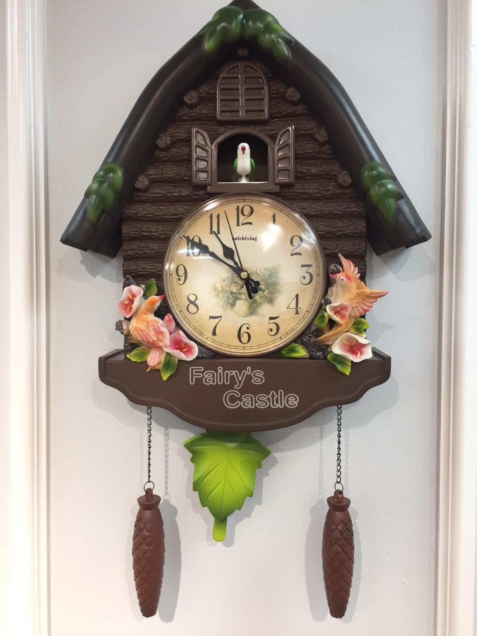 Đồng hồ treo tường cúc cu - Đồng hồ treo tường con chim non mang phong cách tân cổ điển thanh lịch 60 phút đểm chuông một lần - Chất liệu Composite cao cấp
