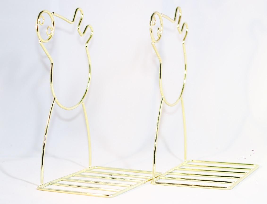 Giá Chặn Sách Kim Loại Để Bàn Hình Heo Peppa - Màu Vàng (Bộ 2 Cái)