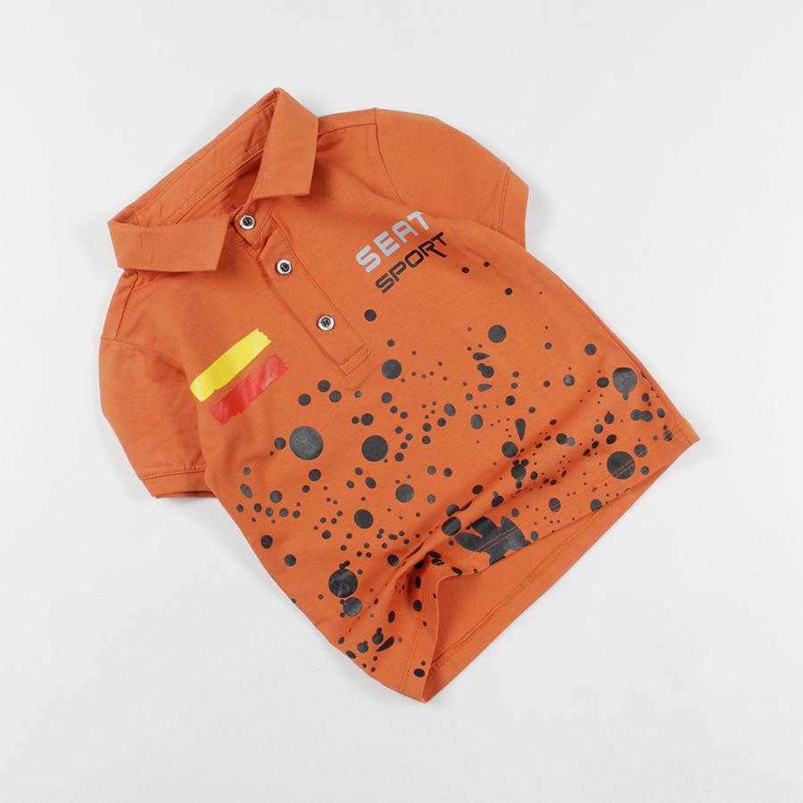 Áo thun cổ trụ in vẩy sơn cho bé trai 0.5-13 tuổi từ 10 đến 35 kg 06422-06425