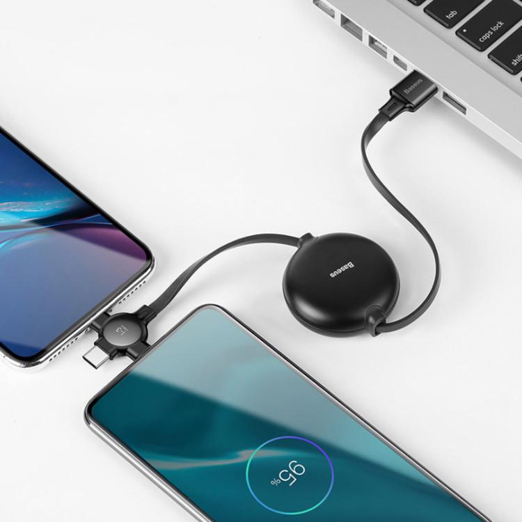 Cáp sạc đa năng cuộn rút 3 trong 1 (Android, iOS, Type C), dây cáp sạc điện thoại CAMLT-AZY01 - Hàng nhập khẩu