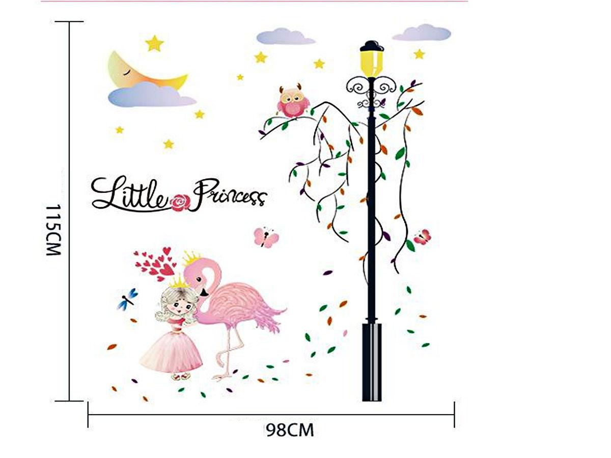 Decal dán tường công chúa nhỏ và con hạc hồng sk9352