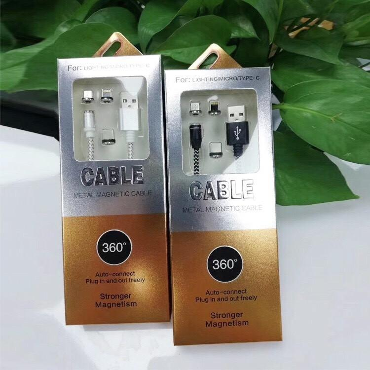 Bộ cáp sạc từ hút nam châm 3 loại đầu Lightning, Micro USB, TYPE-C đa năng, tiện lợi