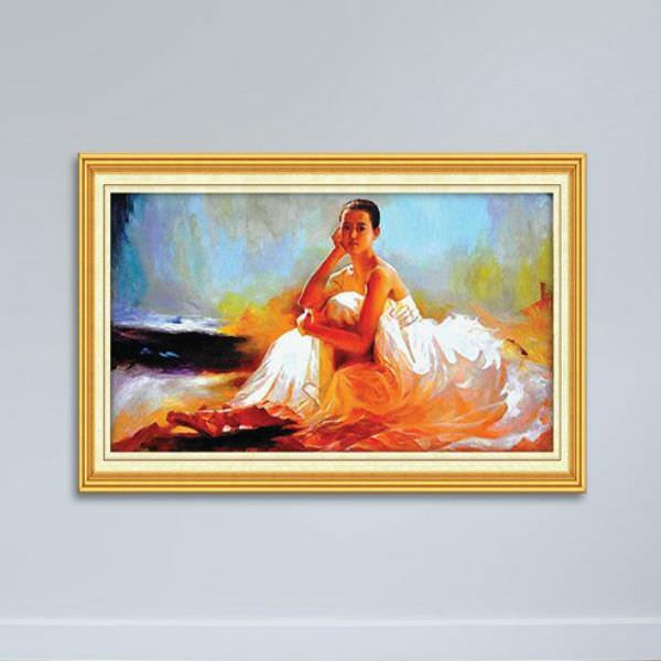 Tranh Sơn Dầu Cô Gái Đẹp Canvas Có Viền W1144