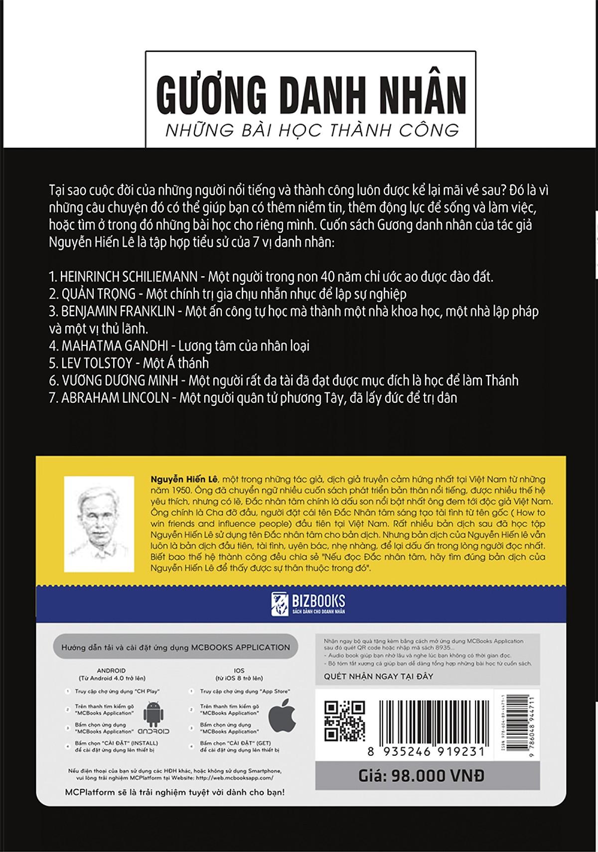 Gương Danh Nhân - Những Bài Học Thành Công (Nguyễn Hiến Lê - Bộ Sách Sống Sao Cho Đúng) tặng Bookmark tuyệt đẹp