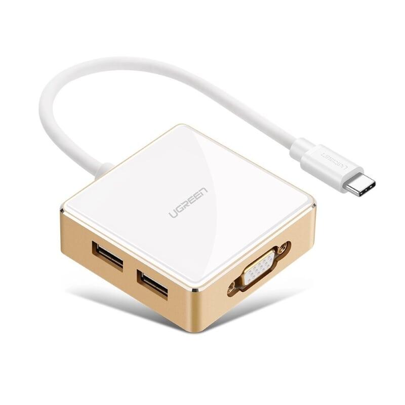 Cáp chuyển đổi USB-C Sang VGA + USB 3.0 + 2*USB 2.0 + USB-C hỗ trợ sạc Power Delivery (PD) Vỏ nhựa dài 25cm màu Trắng Gold Ugreen TC30442US183 Hàng chính hãng.