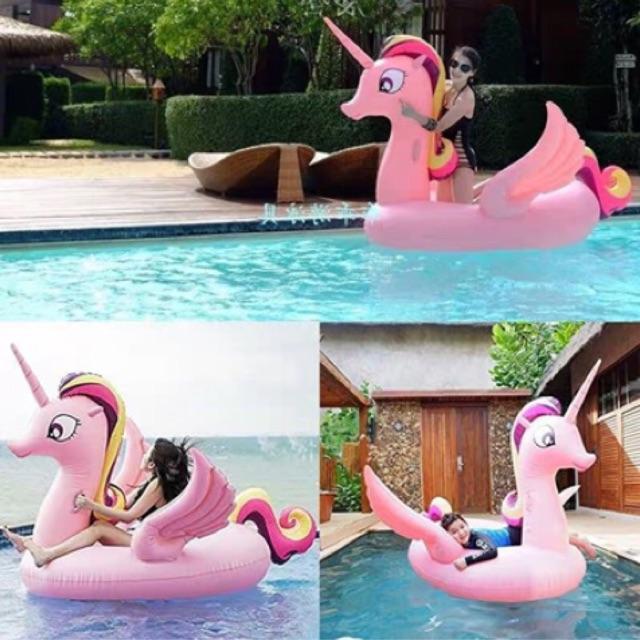 Phao Bơi Pony Hồng Khổng Lồ Người Lớn Kèm Bơm + Phao Mini