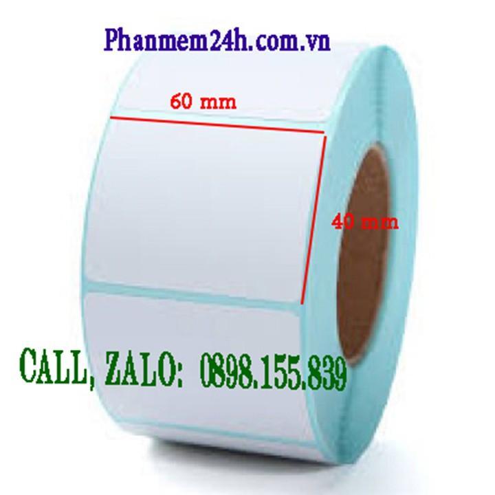 Giấy in tem mã vạch nhiệt trực tiếp 60x40mm