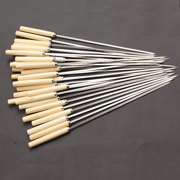 Xiên inox chuôi gỗ 10 chiếc Nướng tiện dụng, không gỉ sét, an toàn thực phẩm chuyên dùng cho bếp nướng than hoa không khói ngoài trời