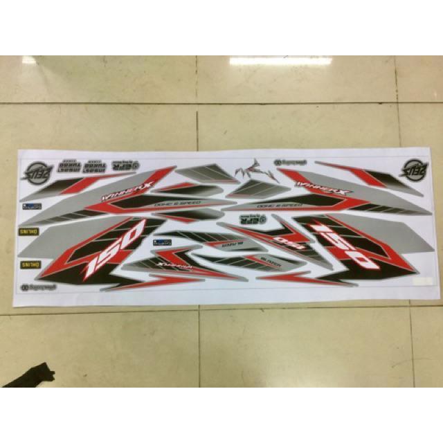 Tem dán dành cho xe máy Winner X chỉ đỏ đen Rời xe Bạc không bay màu