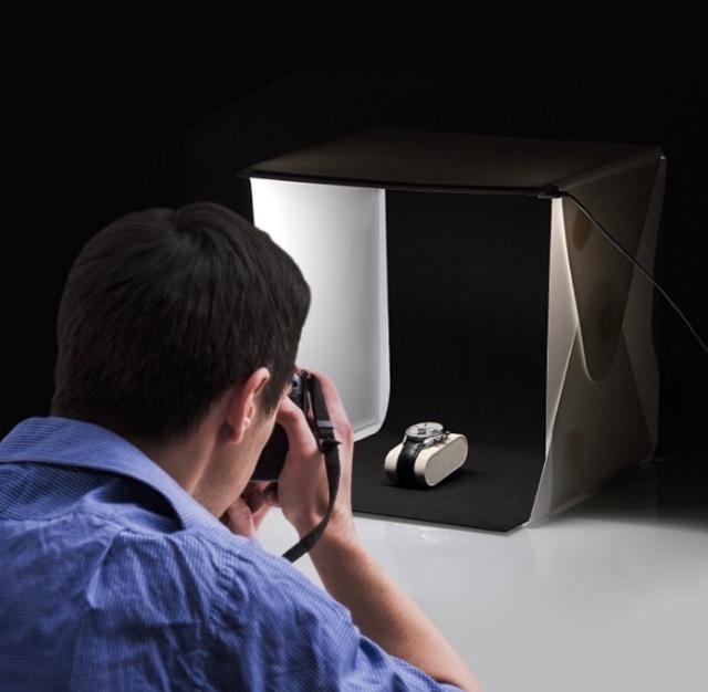 Hộp chụp ảnh (loại 1) có đèn kèm 2 tấm nền size 22.6cm x23cm x24cm