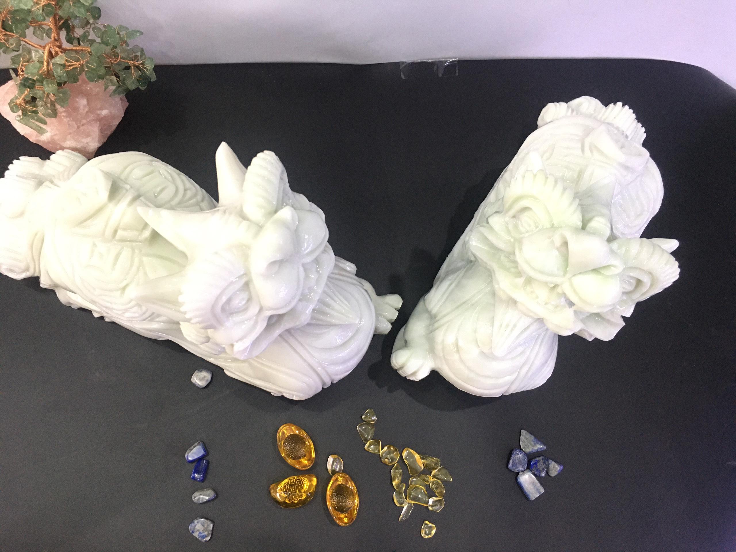 Cặp Tỳ hưu đá Cẩm Thạch xanh – dài 30cm – 12,8kg/cặp