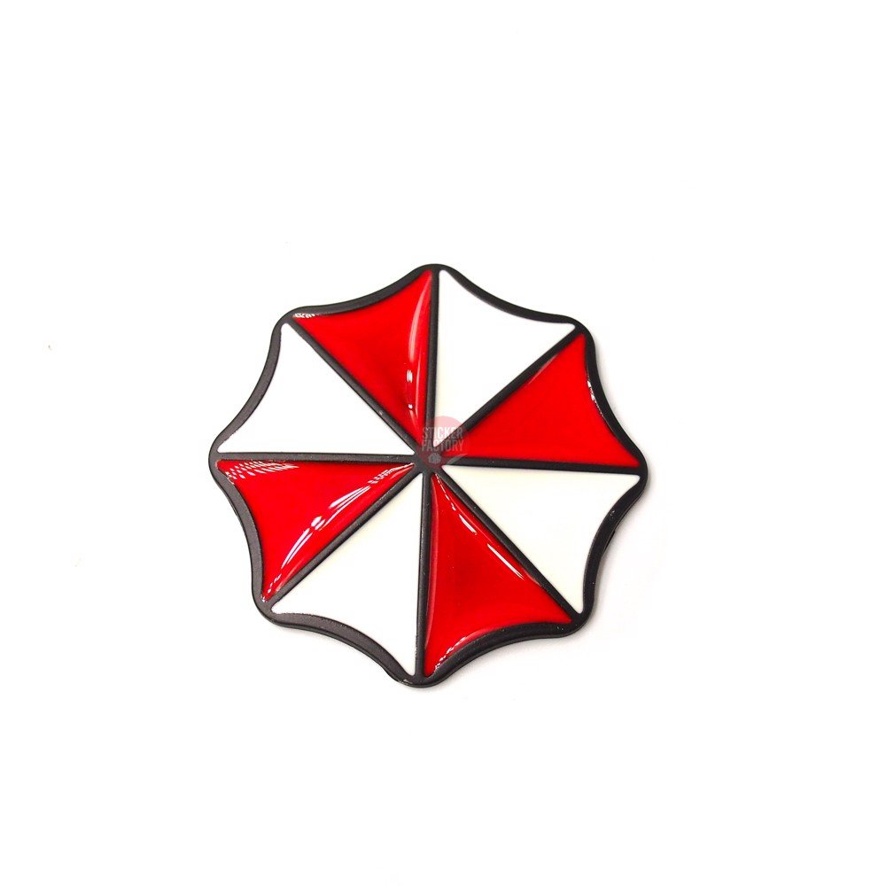 Umbrella logo 8 góc - Sticker hình dán metal kim loại 3D