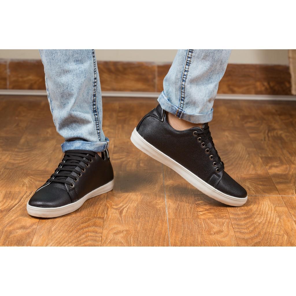 Giày Thể Thao Nam Màu Đen Tăng Chiều Cao 6Cm Không Hề Lộ Cực Đẹp - Cực Chất - M360-DEN(HL)- Kèm Vòng Gỗ Huyết long