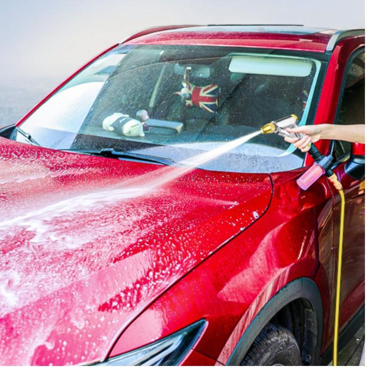 Bộ dây vòi xịt nước rửa xe, tưới cây . tăng áp 3 lần, loại 20m 206236 đầu đồng, đai, nối vòi vàng
