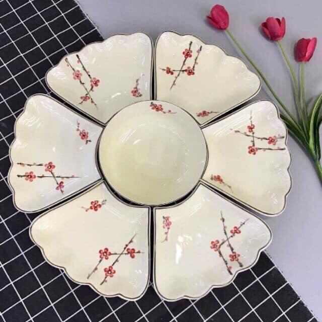 Bộ bát đĩa men kem gốm sứ Bát Tràng vẽ hoa đào đỏ tươi sáng
