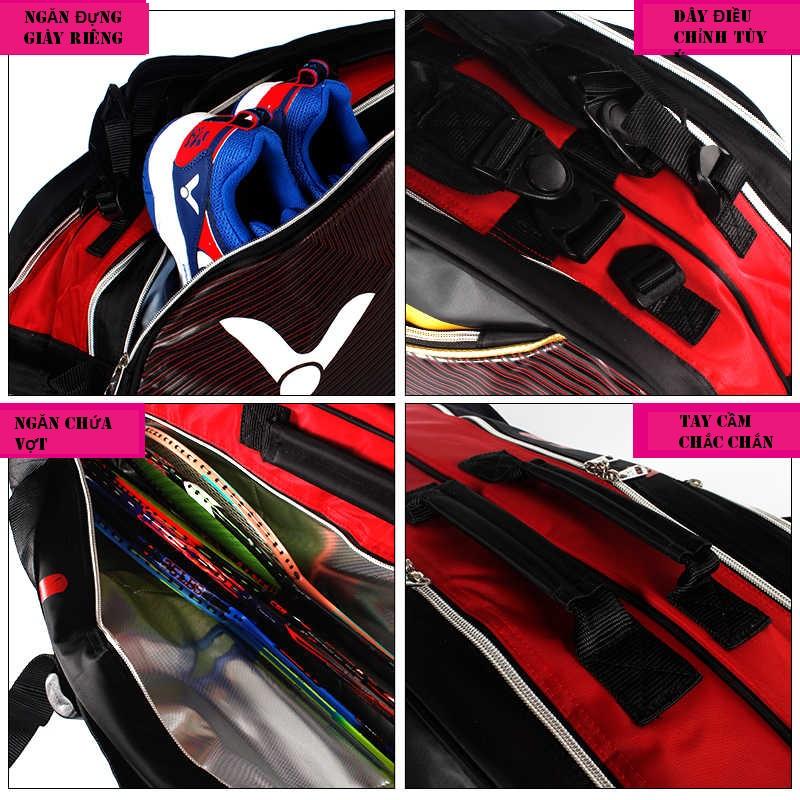 Túi vợt thể thao Victor BR9209 CD cao cấp, thiết kế tiện ích, hàng có sẵn, màu đen viền đỏ, dành cho nam và nữ