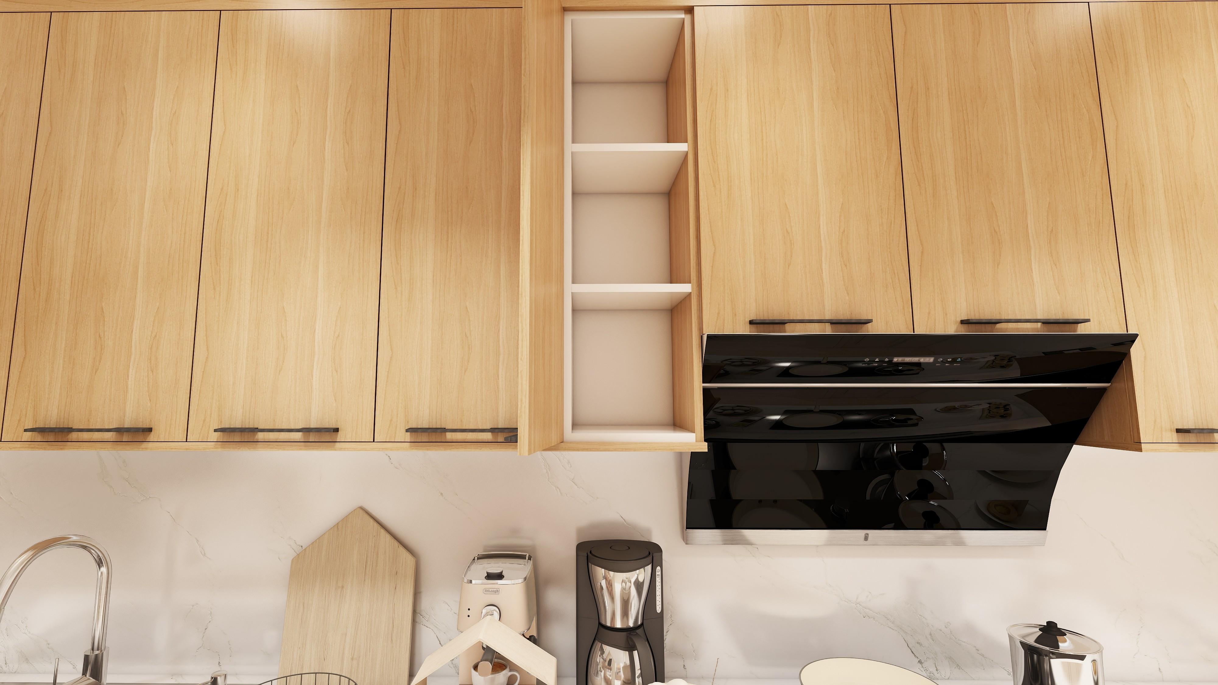Bộ tủ bếp chữ I hiện đại gỗ công nghiệp An Cường phủ Melamine