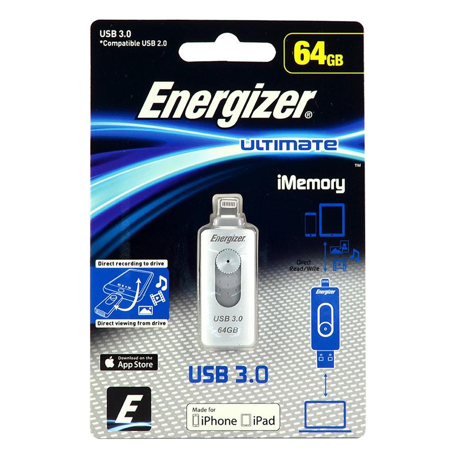 USB Energizer 64GB Lightning OTG Ultimate FOTL3U064R - Hàng Chính Hãng