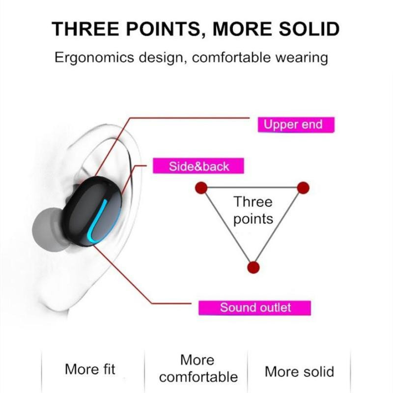 Tai Nghe Bluetooth 5.0 Không Dây Nghe Nhạc Hai Tai HBQ- Q32 Dock Sạc Có Led