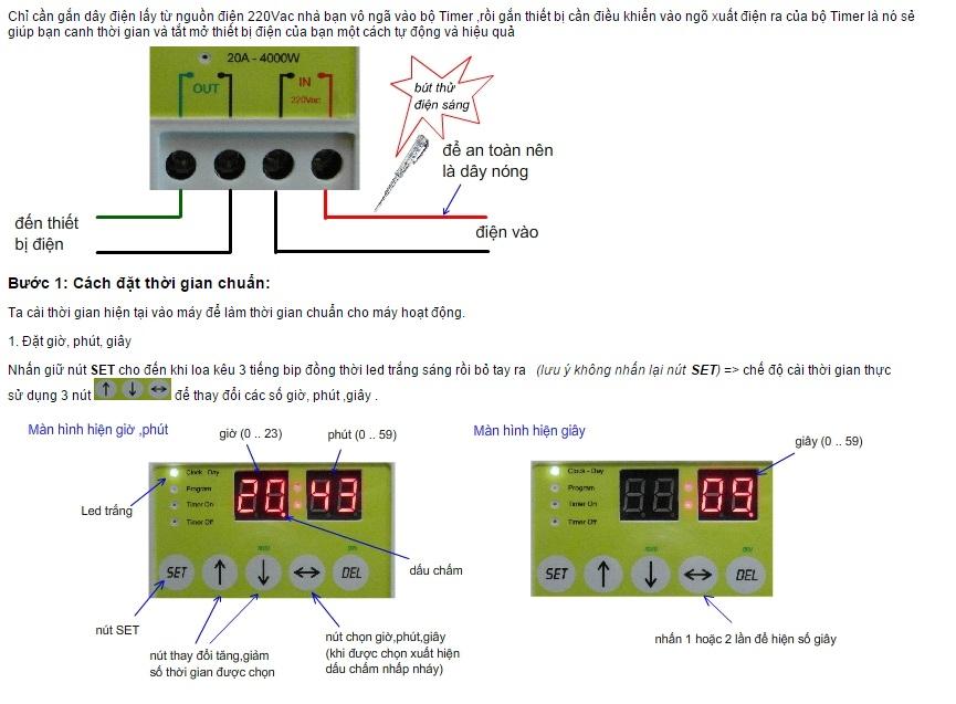 Công tắc hẹn giờLập trình điện tử công suất lớn TM3A ( Tặng kèm nút kẹp cao su giữ đây diện )