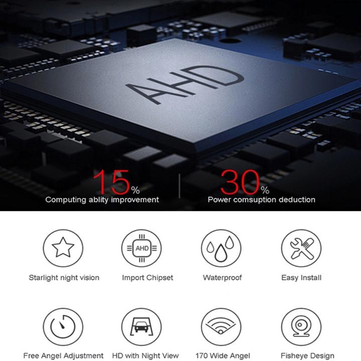 Camera lùi ô tô, xe hơi công nghệ Analog High Definition độ nét cao dành cho màn hình ô tô độ phân giải 2.0MP, vạch camera chuyển động theo vô lăng