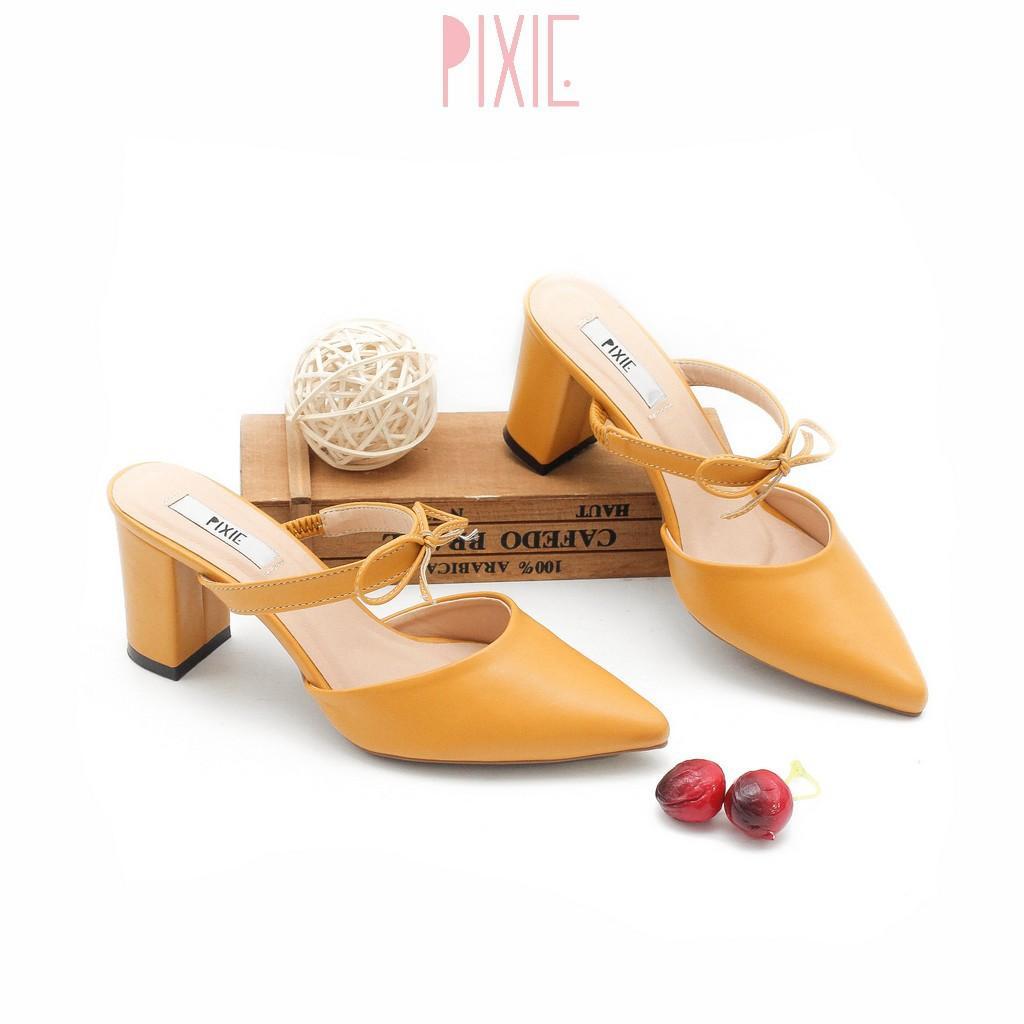 Giày Sục Cao Gót 7cm Đế Vuông Quai Ngang Nơ Nhỏ Màu Vàng Pixie P354