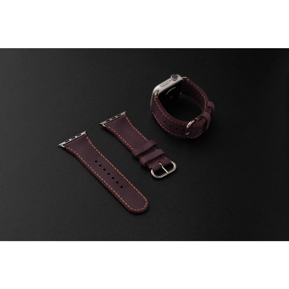 Dây da đồng hồ SEN Apple Watch size 38/40 - CHÍNH HÃNG KHACTEN.COM - TÍM SÁP-100 - ADAPTER BẠC