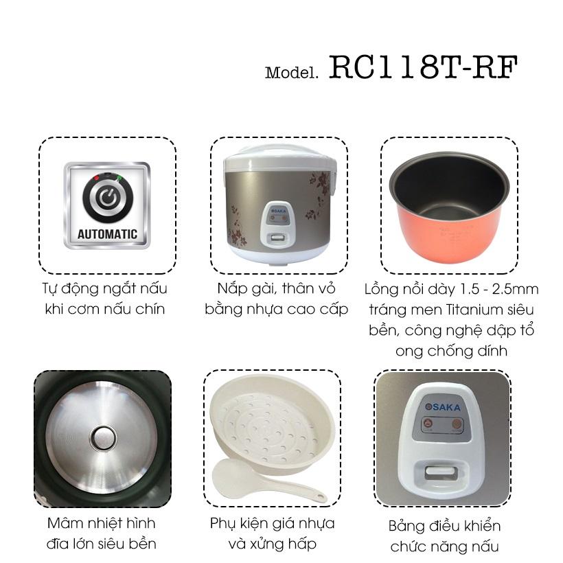 Nồi Cơm Điện Cao Cấp Osaka RC118T-RF(1.8 L) - Hàng Chính Hãng