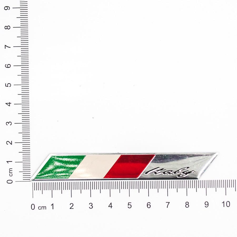 Sticker hình dán metal cờ Ý Italia - miếng lẻ - Ngang 10x1.5cm
