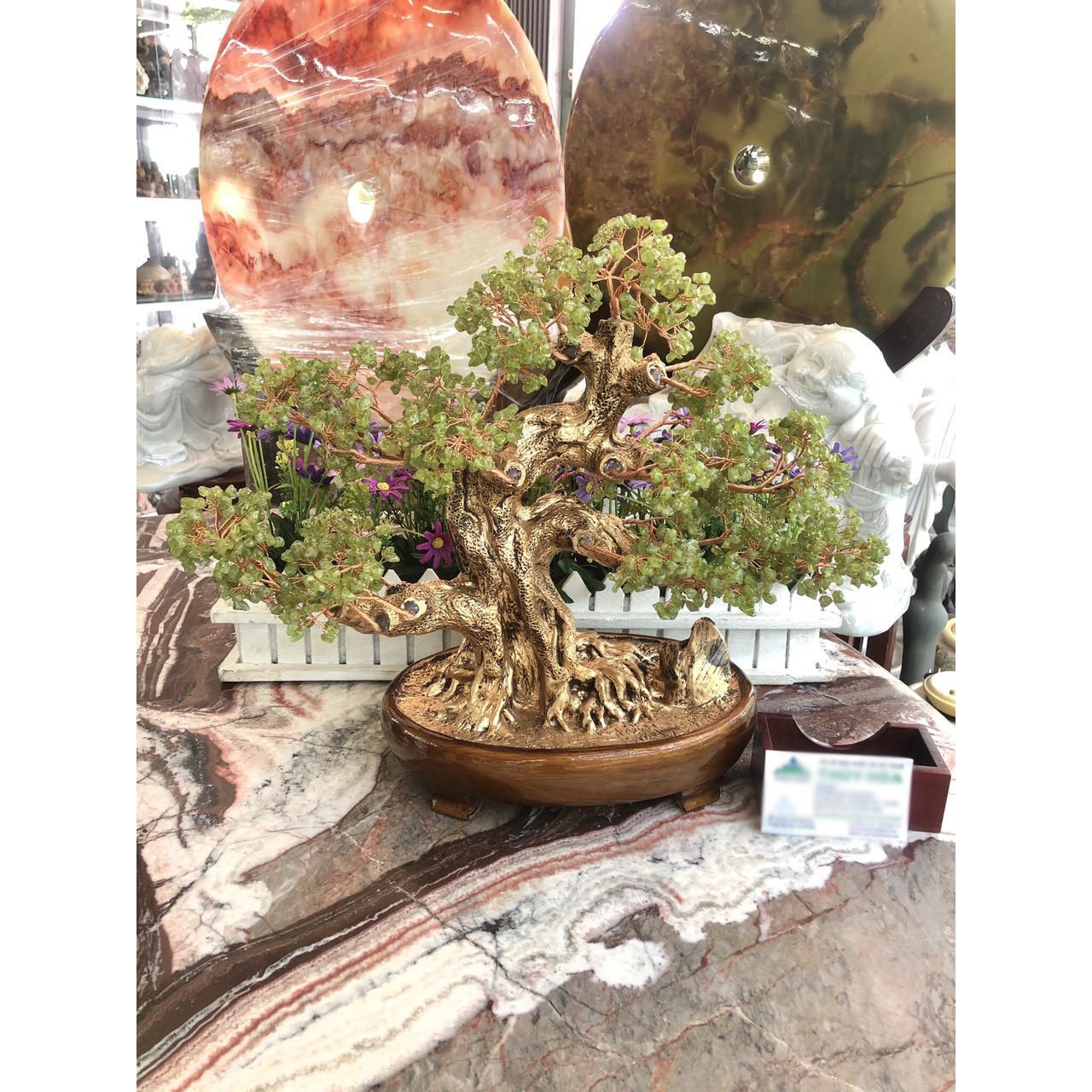 Cây Tài Lộc bonsai phong thủy đá peridot xanh - Cao 40 cm