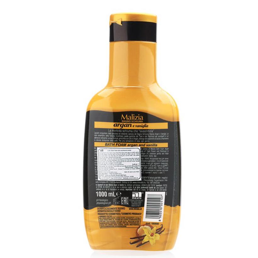 Sữa tắm tinh dầu Argan và vani Malizia Bath Foam 1000ml + Móc khóa