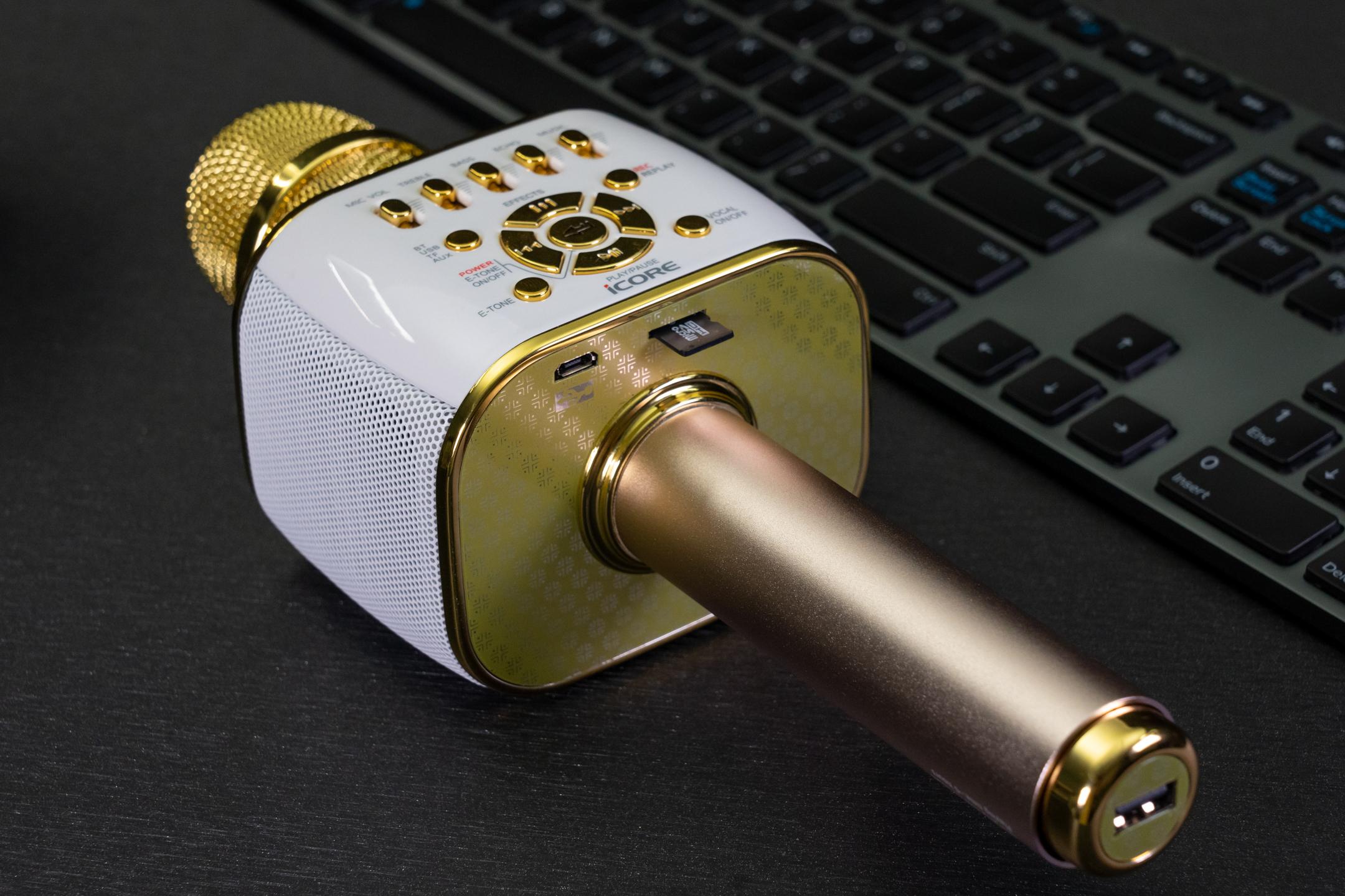 Micro karaoke bluetooth iCore IC-M99. Thu âm bài hát vào thẻ nhớ, đổi giọng, ngắt lời ca sỹ. Micro livestream chất lượng - Hàng chính hãng