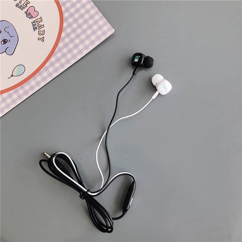 Tai nghe nhạc nhét tai Khủng Long ngộ nghĩnh có mic đàm thoại kèm hộp đựng chống rối dây hình tròn