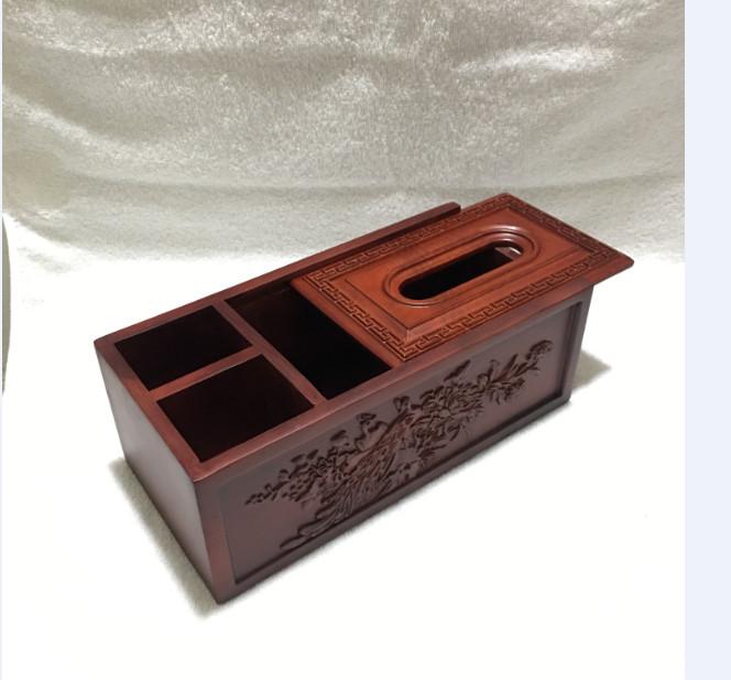 Hộp đựng giấy ăn 3 ngăn 2in1 chạm thành bằng gỗ hương cao cấp