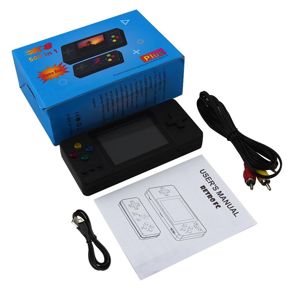 Máy chơi game 4 nút cầm tay mini 500 trò retro nhỏ gọn phím nhạy có thêm tay cầm cho 2 người chơi kết nối TV