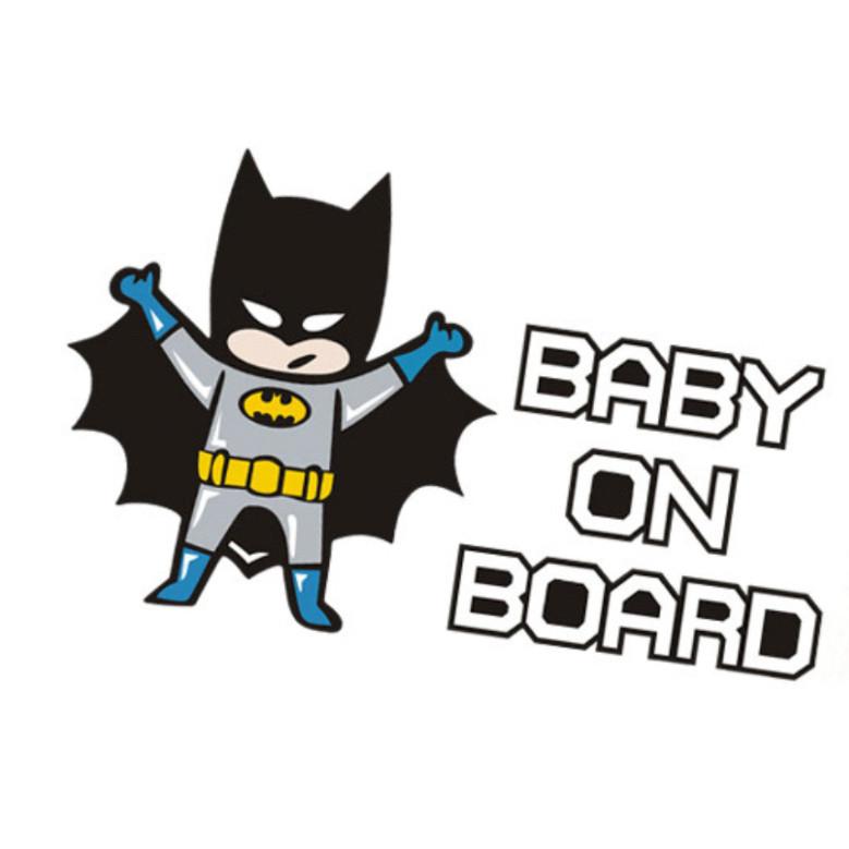 NGƯỜI DƠI BABY ON BOARD- Sticker transfer hình dán trang trí Xe hơi Ô tô size 11x18cm