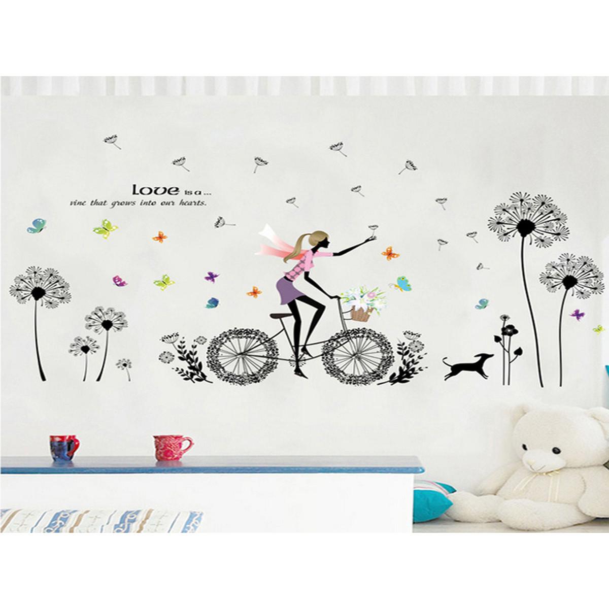 Decal dán tường cô gái đạp xe hoa bồ công anh đen xl8212