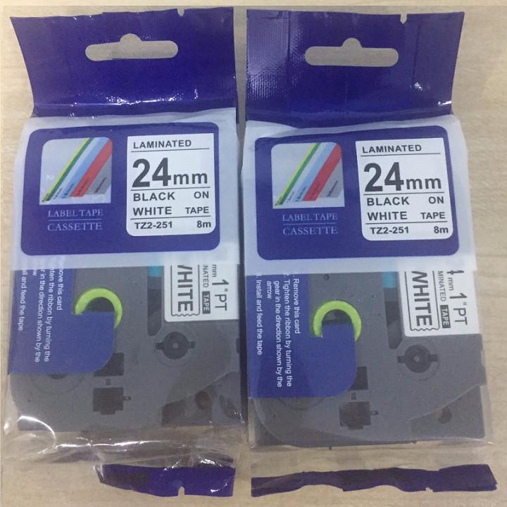 Combo 2 cuộn nhãn in TZ2-251 tiêu chuẩn - Chữ đen trên nền trắng 24mm - Hàng nhập khẩu
