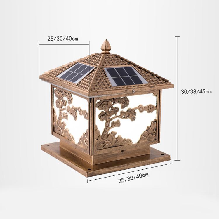 Đèn trụ cổng đồng năng lượng mặt trời cây tùng cỡ 400mm TC 7008