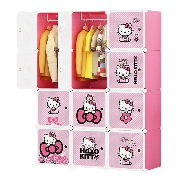 Tủ Nhựa Lắp Ghép Đa Năng 12 Ô Hồng Phấn, Cánh Kitty Chấm Bi 12.HP.02 (47 x 110 x 145 cm)