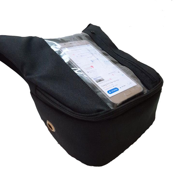 Túi treo đầu xe máy mẫu đứng vải bố, túi ghi đông treo đầu xe máy cho Grap,Goviet, bê