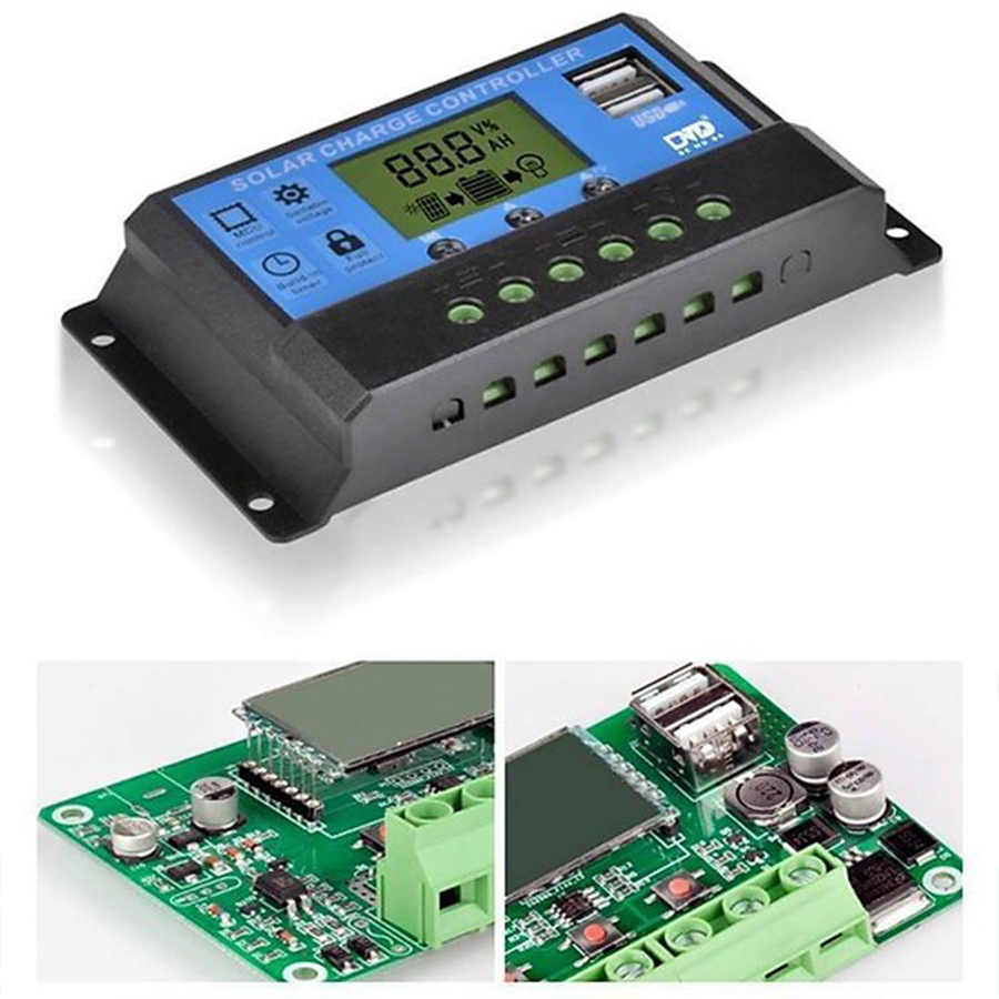 Bộ Điều Khiển Sạc Pin Mặt Trời 12/24V 30A Có USB 150x78x35mm