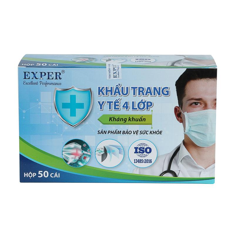 Khẩu trang y tế EXPER 4 lớp kháng khuẩn giành cho người lớn hộp 50 cái