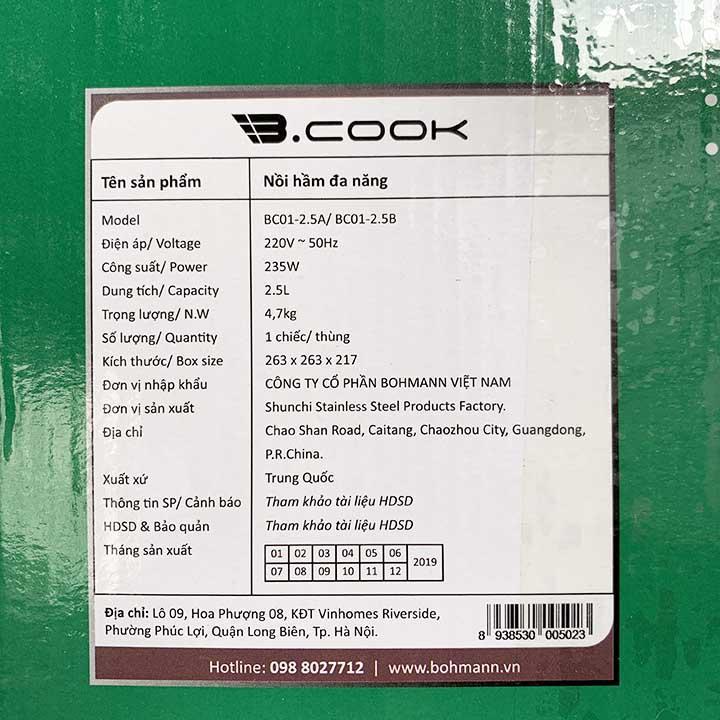 Nồi hầm điện tử đa năng 2.5 Lít B.Cook Bohmann BC01-2.5B chính hãng