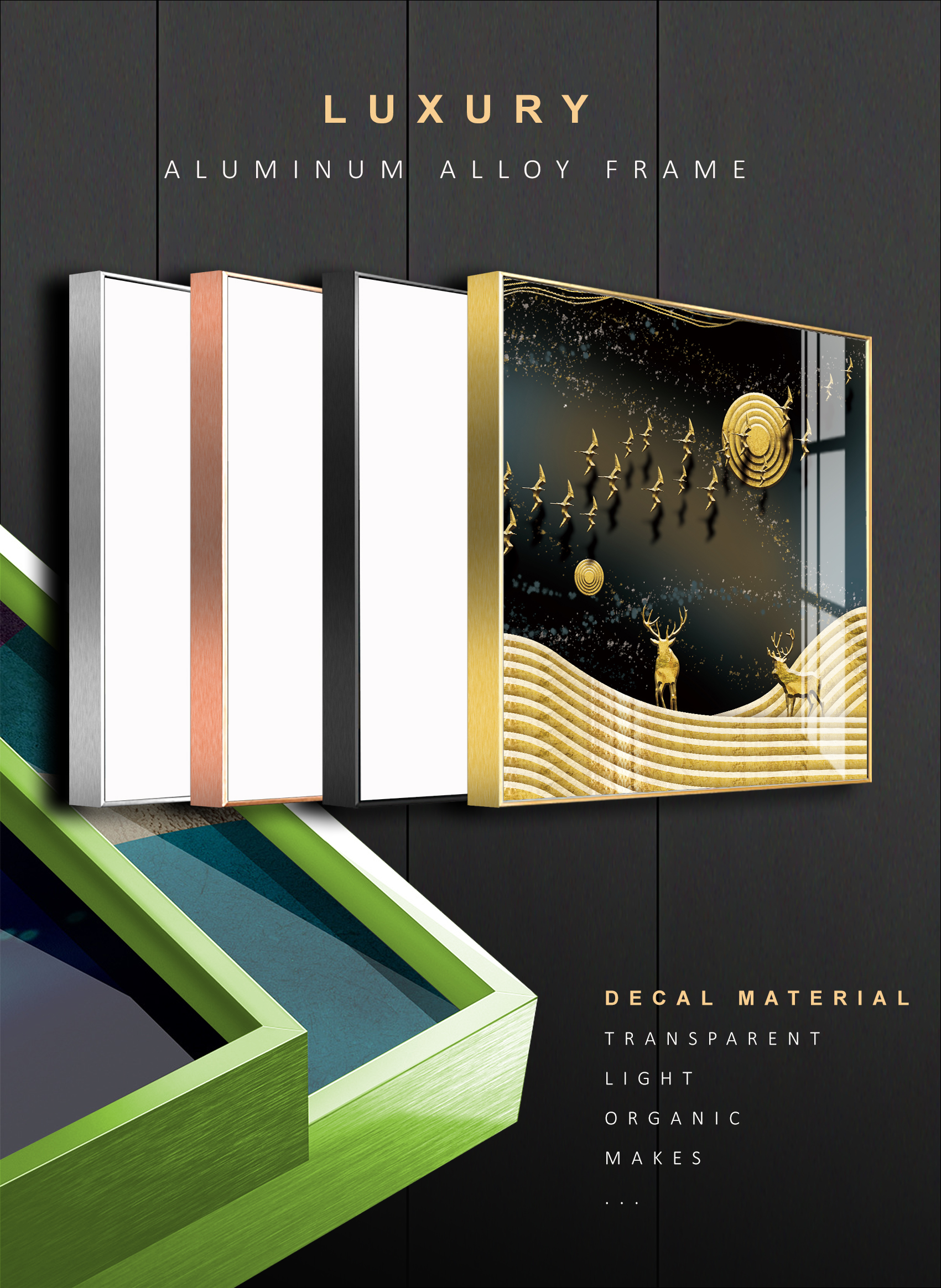 Tranh phong thuỷ Mica 3 bức Bình yên dưới ánh trăng vàng trừu tượng (Thành Đầu Thổ). Model: AZ3-0123. Khung nhôm hoặc Composite. Hình ảnh sắc nét, sang trọng, phù hợp nhiều không trang trí