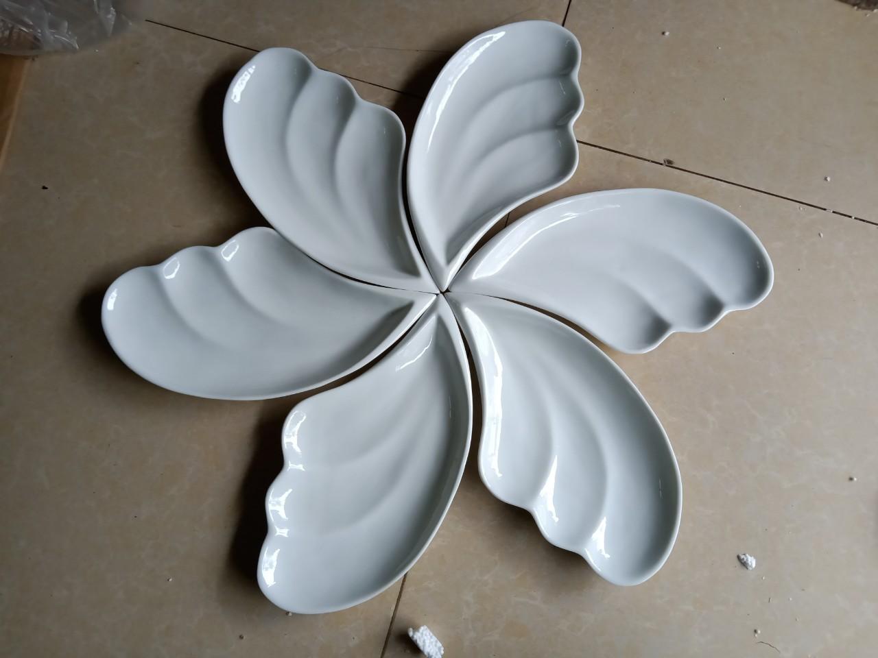 Bộ đĩa lá men trắng cánh tiên 06 chiếc Bát Tràng