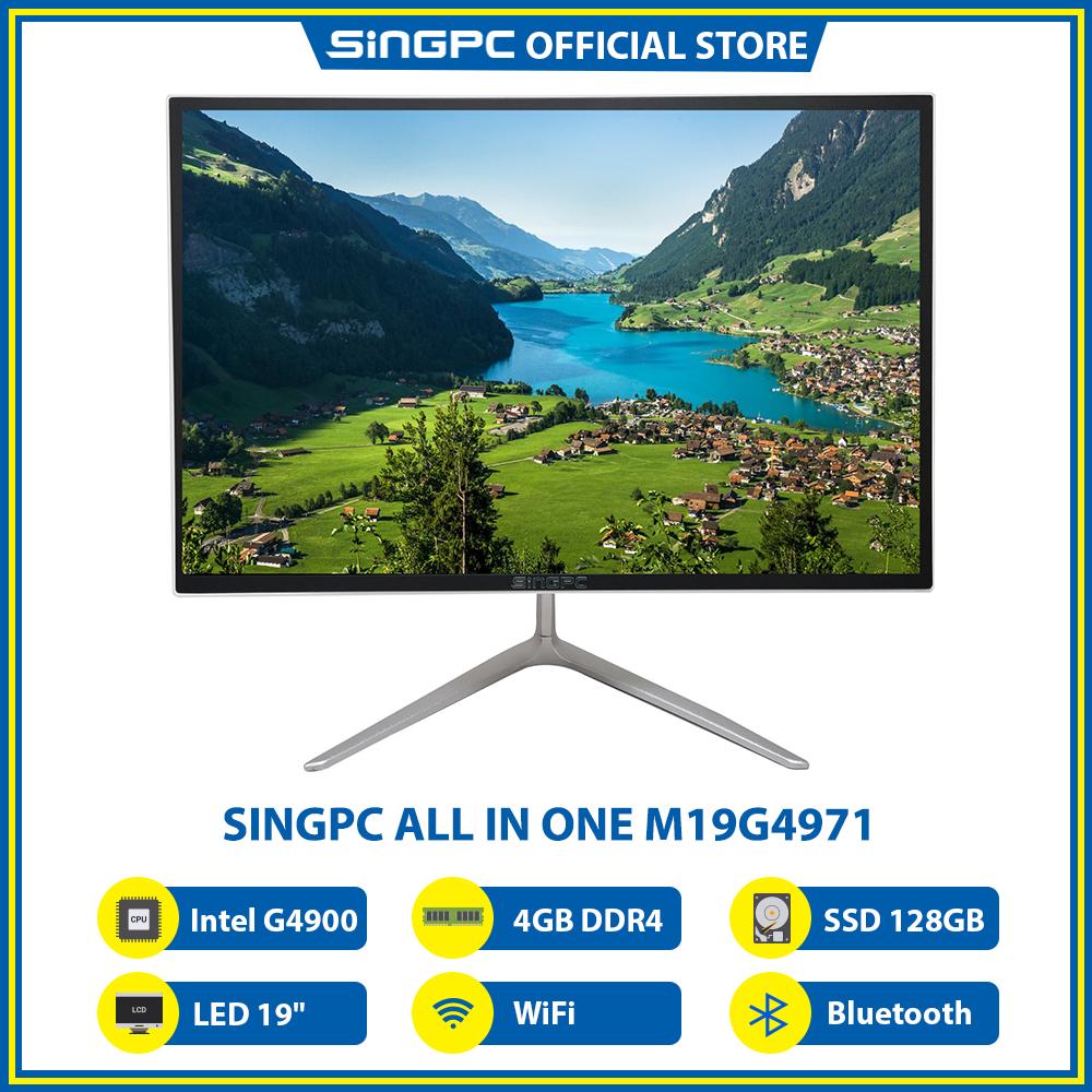 """Máy tính All In One SingPC M19G4971 (Intel G4900, 4GB DDR4, SSD 128GB, LED 19"""", LAN, WiFi, Bluetooth, Loa, Free DOS) - Hàng Chính Hãng"""