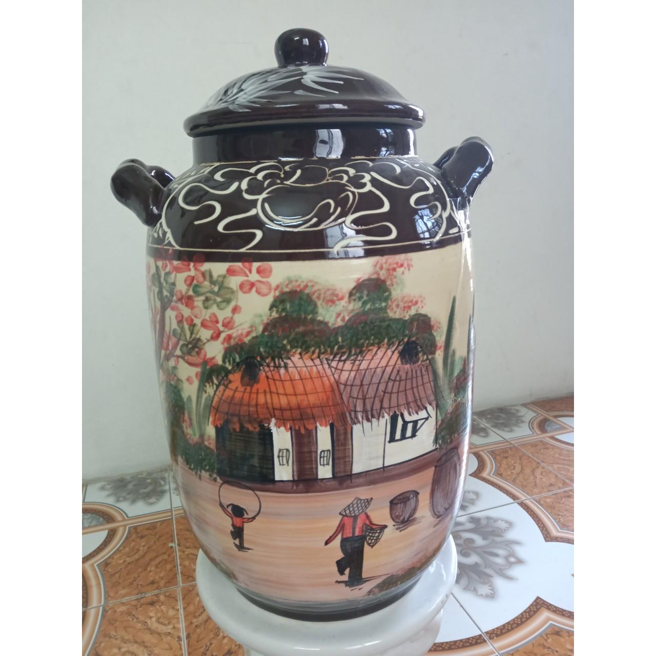 Hũ đựng rượu, gạo vẽ phong cảnh Bát Tràng loại 15L ( 10kg gạo)